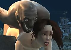 Stacked 3D Hottie Fucked by a Zombie