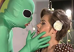 Alien fucks blonde Milf at halloween