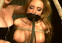 Boobalicious blond sex slave gets tied up and fucked with a vibrator