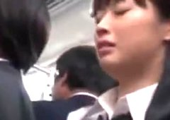 Bubble butt japanese schoolgirl fucked on train