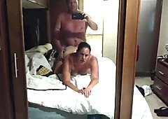 Tan-lined Milf gets fucked in front of the mirror
