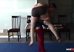 Wrestled Sat On and Tickled by Ingrid Mouth FEMDOM WRESTLING
