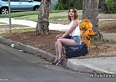 Thankful blonde teen hitchhiker fucks strangers dick