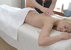 Pretty Russian blonde gets a nice facial after a massage