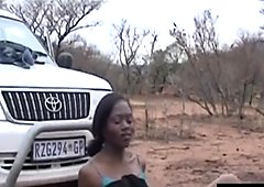 Booty African bitch fucked hard in wild on a safari