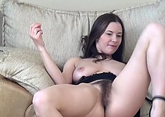 Hairy Russian girl Kristina makes you horny