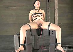 Clamped up playgirl is receiving facial agony