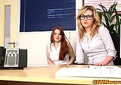 Office cfnm babes tasting directors cum POV