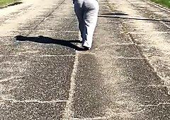 Bbw milf big booty jiggling in sweats 4(slow-mo)