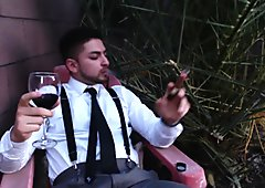 Smoking Cigars, Drinking Wine, Spitting Video In Classy Outfit Webcam Show