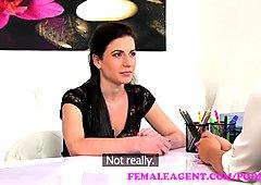 FemaleAgent Sexy agent dominates casting with a big strap on dildo