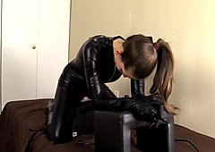 Riding my Sybian in my catsuit while having fun denying YOU